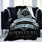 Supernatural Saving People Hunting Things Blanket Fashion Fuzzy Warm Soft Bed Blankets and Throws Supernatural Join The Hunt Game TV Show Winchester Brothers Merchandise Winter Gifts Home Decorations