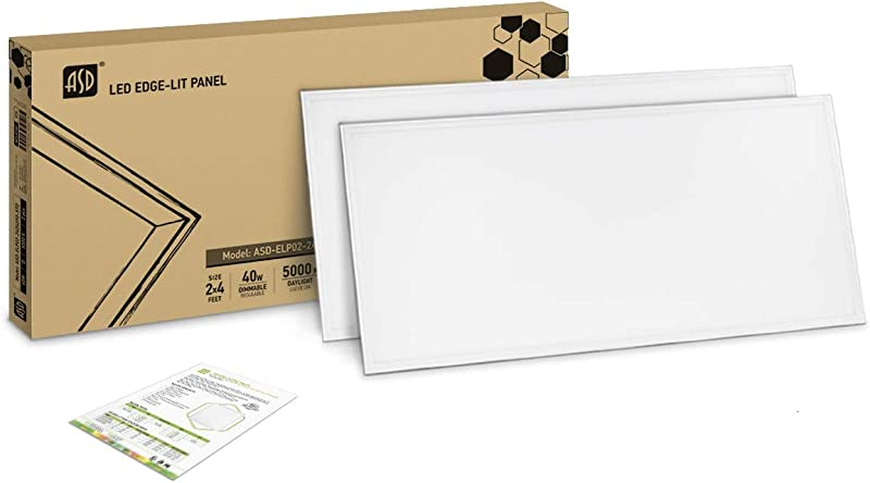 2 PACK ASD LED Panel 2x4 Dimmable Edge Lit Flat 40W 5000K Daylight 4677 Lm UL Listed DLC Certified