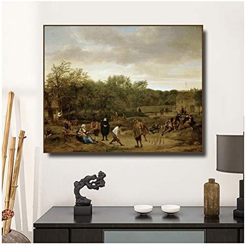 Boeren spelen op Skittles door Jan Steen Canvas Schilderprints voor Woonkamer Slaapkamer Muurfoto's Home Art Decor -60x80cm Geen Frame