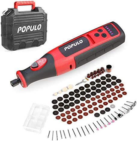 POPULO Power Cordless Rotary Tool Kit 8V Li ion 2 0Ah Battery Rotary Tool Cordless with 124 product image