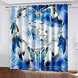 ADKMC Cortinas 100% Opacas, Azul Animal Lobo Plumas 150X166CM...
