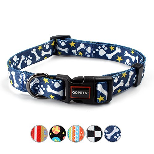 QQPETS Dog Collar Personalized Soft Comfortable Adjustable Basic Collars for Small Dogs Walking Running Training (S, Bone)