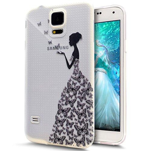 ikasus Cover Galaxy S5 Mini,Custodia Galaxy S5 Mini, Disegno colorato con Ragazza Farfalla Cover Silicone Case Molle TPU Trasparente Sottile Case Custodia Cover per Galaxy S5 Mini,Farfalla Ragazza