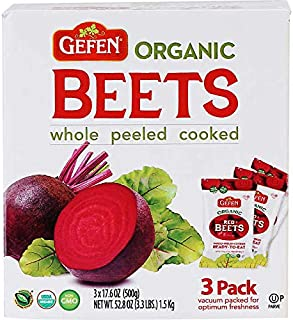 Gefen Organic Beets Whole,Peel,Cooked Kosher Red Beets: 3 Pack - 3.3 lbs