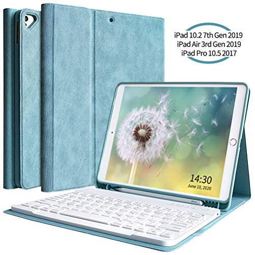 New iPad 10.2 Keyboard Case 7th Generation 2019 for iPad 10.2 Case with Keyboard, Detachable Bluetooth Keyboard Case for iPad Air 3 10.5 2019/iPad Pro 10.5 2017 with Pencil Holder