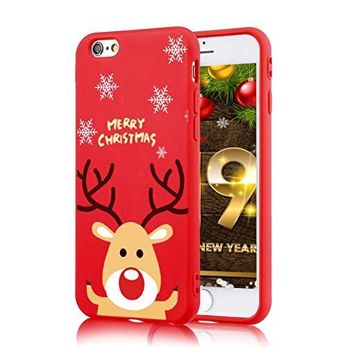 ZhuoFan Cover iPhone 6 / 6s, Custodia Silicone Rosso con Disegni Ultra Slim TPU Morbido Antiurto Christmas Cartoon Pattern Bumper Case Protettiva per iPhone 6 / 6s, Cervo