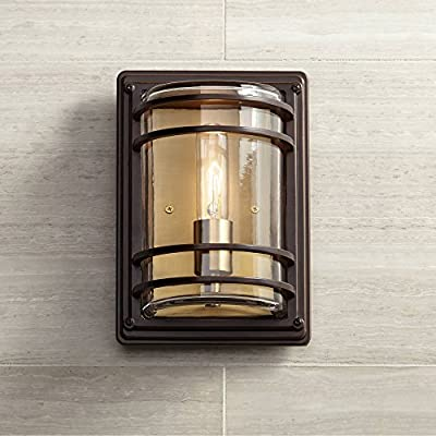 "Habitat Industrial Outdoor Wall Sconce Fixture Bronze and Warm Brass 11"" Clear Glass for Exterior House Porch Patio - John Timberland"