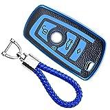 KASER Funda Carcasa Llave Coche Silicona TPU Compatible para BMW Serie 1 3 5 7 X1 X3 X4 X5 X6 F30 E30 Cover Llaveros Efecto Piel Protección Mando de Coche (Azul)
