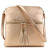 Tassel Zip Pocket Crossbody Bag (Rose Gold)