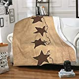 Vintage Rusty Stars Primitive Country Rustic Fleece Blanket Throw Super Soft Cozy Couch Blanket Lightweight Warm Bed Blanket for Sofa Bed Travel Camping