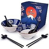 Japanese Ceramic Ramen Bowl Set - 8-Piece Dinnerware Set With Matching Large White Ramen Bowls,...