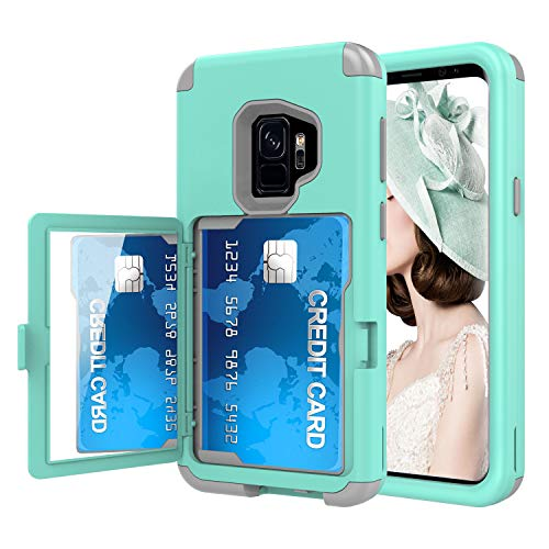Sumsung Galaxy S9 Case, Acxlife Galaxy S9 Case Shockproof Heavy-Duty Protective Hybrid Cover with Card Slot Holder and Opened Back Mirror & Kickstand Case for Samsung (Green-B)
