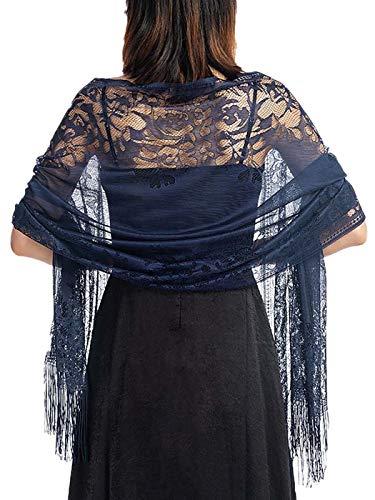 Ushiny Womens Avond Wrap Sjaal met Bloem Kant Bruiloft Sjaal voor Prom en Party