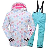 LSHEL Traje de esquí para niños y niñas, 2 Piezas, Traje de esquí (Chaqueta de esquí + Pantalones de esquí), Otoño-Invierno, Niños, Color Top+himmelblaue Hose, tamaño 146 cm/152 cm