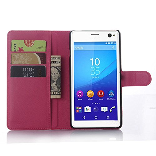Ycloud Tasche für Sony Xperia C4 Hülle, PU Ledertasche Flip Cover Wallet Hülle Handyhülle mit Stand Function Credit Card Slots Bookstyle Purse Design Rose Red