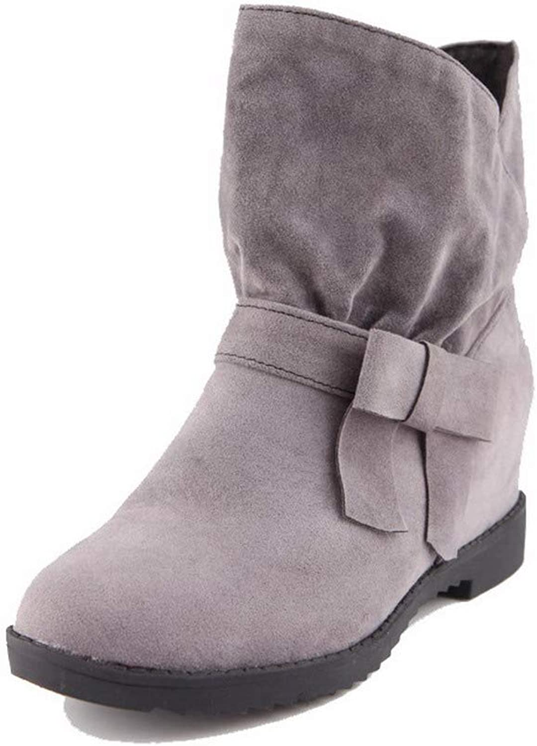 AllhqFashion Women's Frosted Mid-Calf Solid Pull-On Kitten-Heels Boots, FBUXD034432