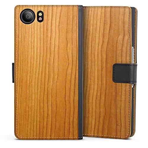 DeinDesign Klapphülle kompatibel mit BlackBerry KeyOne Handyhülle aus Leder schwarz Flip Case Holz Struktur Muster