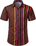 JOGAL Men's Vertical Striped Short Sleeve Button Down Shirts 3X-Large RedYellow
