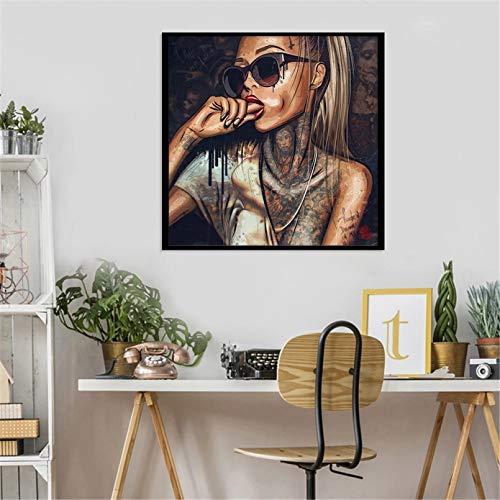 N/A Cuadros Decorativos Gafas de Sol Mujer Lienzo Decorativo Pintura decoración del hogar Impresiones artísticas y Carteles sin marco-60x60cm
