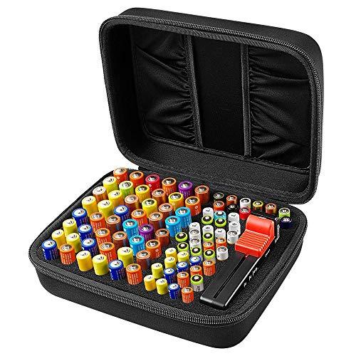 COMECASE Batterie Aufbewahrungsbox Tragetasche Batteriebox (M_Holds_96pcs+Tester)
