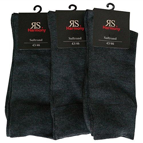 6 Paar Socken Pia RS Harmony Herrensocken ohne Naht Softrand Anthrazit (Herren 43-46)