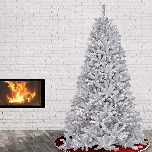 7 ft. North Valley Spruce with Glitter Branches Includes Pre-strung White Lights and Stand