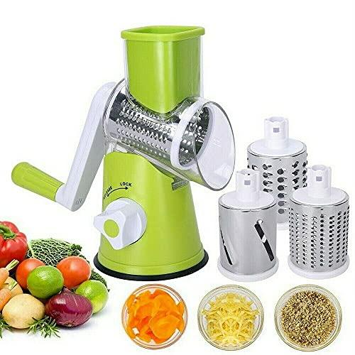 Grattugia Rotante per Formaggio, Affetta Verdure a Spirale Affettatrice Rotanteper Verdure Manual di Plastica per Verdure Frutta (Verde)