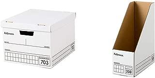 フェローズ 703バンカーズBox A4ファイル用 黒 3枚パック 内箱 5段積重ね可能 対荷重30kg &  マガジンファイル208 3枚パック 2080101