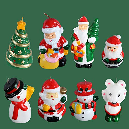 SCXXLZ 8PCS Velas Creativas Velas de Papá Noel Velas de muñeco de Nieve Velas de cumpleaños Decoración de Pasteles