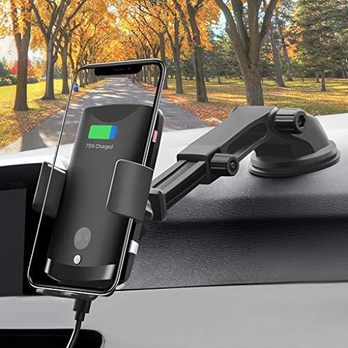 WZHZJ Soporte de la Copa de succión Sensor de Cargador de Coche inalámbrico rápido Abrazadera automática Soporte de teléfono móvil Universal