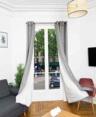 RIDPHONIC Vorhang 15dB Andora 4 Schichten Isolierung phonisch Tür und Fenster Vorhang Thermische Isolierte Verdunkelung 135x245cm Vorhang Akustik Anti-Kälte Raumdekoration Farbe Aschgrau