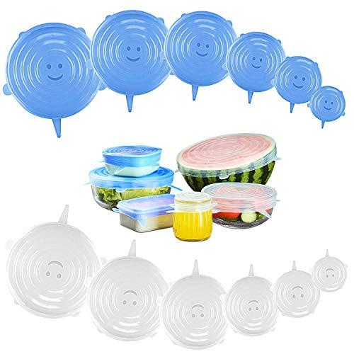Bukm Lot de 12 couvercles en silicone extensibles et flexibles pour bols, boîtes, verre, Food Saver, boîtes réutilisables