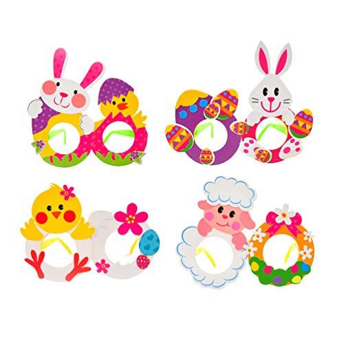 Holibanna Juego de 4 Piezas de Artesanía de Pascua Gafas de Fiesta de Conejito Gafas de Pascua para Niños Fiestas de Pascua Favores de La Cesta de Pascua (Patrón Aleatorio)