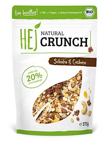 HEJ Natural Crunch Schoko Cashew - Protein Müsli - Veganes Fitness Müsli - Ohne zugesetzten Zucker - Ballaststoffreiches Müsli - 1 x 375g