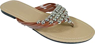 Peach Couture Womens Metal Beaded Straps V Strap Flip Flop Flat Thong Sandal