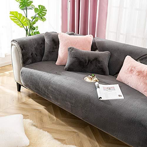 Suuki Sofas Salon Chaise Longue Oficina,Funda de cojín de sofá de Felpa, Fundas de sofá Gruesas y Antideslizantes, Funda de sofá seccional cálida, Protector de sofá cómodo-Gris oscu