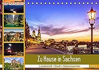 Zu Hause in Sachsen (Tischkalender 2022 DIN A5 quer): Landschaft, Urbanes und Sehenswertes aus Sachsen (Monatskalender, 14 Seiten )