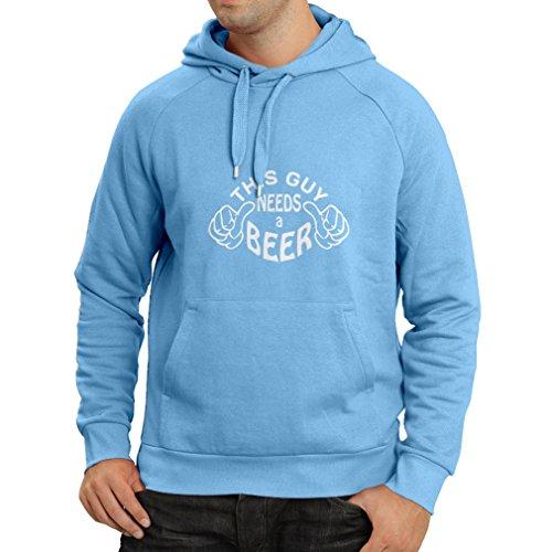 lepni.me sweatshirt met capuchon, deze jongen heeft een bier nodig - leuk cadeau-ideeën voor bierliefhebbers, pub, bar, feestkostuums (X-Large Blauw Wit)