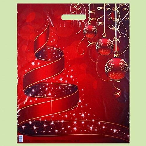 Confezione da 50Eco Natale stampato rosso sacchetti regalo di plastica 40x 50cm
