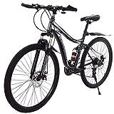 Y56 Outroad Mountain Bike 26in MTB Cruiser Bike 21 Speed Gear, Disc Brake/MTB Break Lever, Full Suspension, Bicycle Folding Bike for Adult Teens (Black&White)
