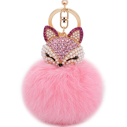 Zinsale Strass Fuchspelz Pom Pom Schlüsselanhänger Handtasche Charm Car Anhänger mit goldenen Schlüsselring (Rosa)