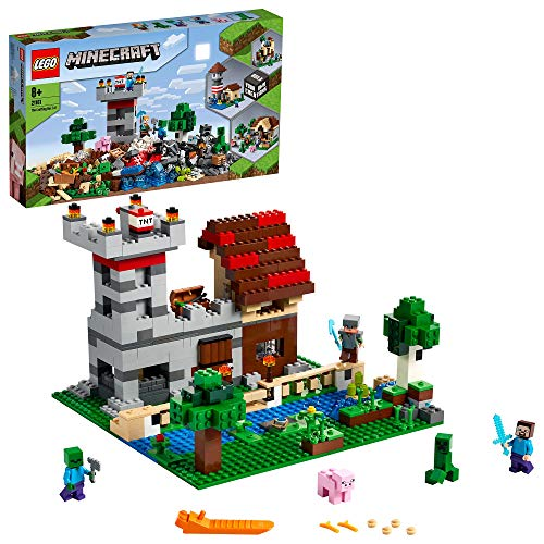 LEGO 21161 Minecraft Die Crafting-Box 3.0 2-in-1 Set Schloss Farm mit Steve-, Alex- und Creeper-Figuren