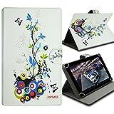 Seluxion-Funda universal con tapa y soporte, diseño de flores y mariposas para tablet Asus ZenPad S 8,0 8 FE380CG Z580C Fonepad