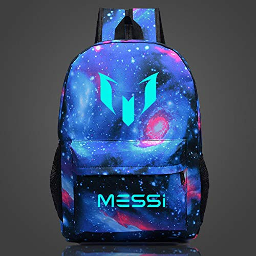 TYYM backpack Mochila Luminosa Escolar Mochila Barcelone Lionel Messi para Estudiantes De Primaria/Secundaria G-17.7inch