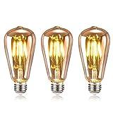 tronisky Retro Edison Bombillas, Vintage LED Bombillas de Filamento E27 4W Antiguo Edison Lámpara Blanco Cálido Bombillas Decorativa for Casa, Restaurante, Bar, Cafetería, Tienda - 3 Piezas