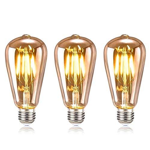 tronisky Edison Vintage Glühbirne, Edison LED Lampe E27 4W Warmweiß Retro Dekorative Glühbirne Vintage Antike Glühlampe Ideal für Nostalgie und Retro Beleuchtung im Haus Café Bar usw, 3 Stück