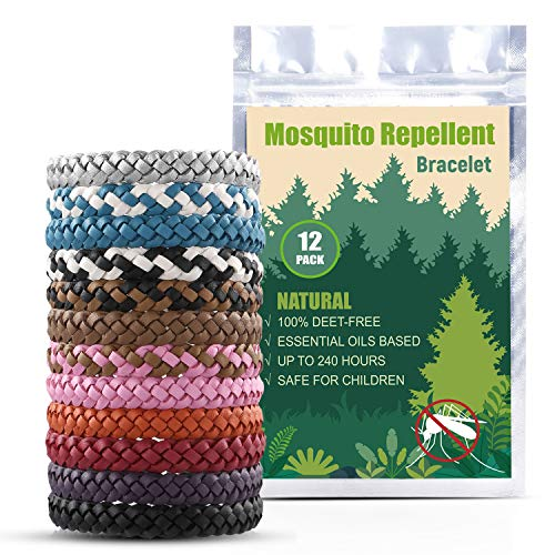 EVERWELL Mosquito Repellent Bracelet, 12pcs Leather Insert Repellent WristBands, Natural Deet Free Repellent Bands, Against Mosquitoes Insects, Long Protection for Kids, Babies, Adults