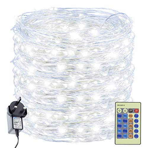 Decuteuk 500 LED Fairy Lights Cool White 50M Silver Wire String Light w/Remote, LED Firefly Lights Starry Light for DIY Christmas Tree Costume Wedding Party Table Centerpiece Decor