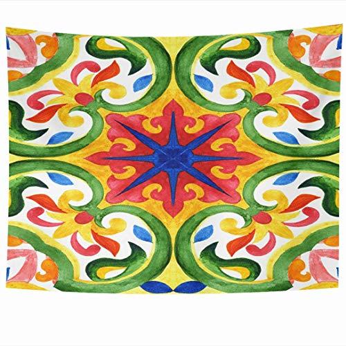 Wandbehänge Wandteppiche Portugiesische Azulejo Fliesen Andalusien Kissen Druck Textur Persische Dekoration Grüne Vintage Texturen Wandteppich Wanddecke Wohnkultur Wohnzimmer Schlafzimmer Wohnheim