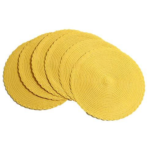 U'Artlines 6X manteles Individuales de polipropeleno y algodón Trenzado Amarillo 38cm